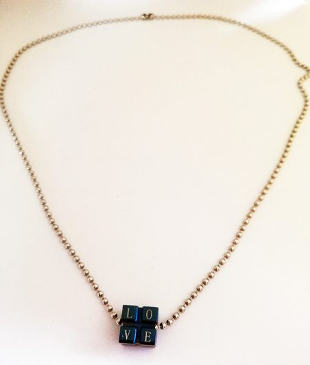 Gothic punk 3D love dice pendant necklace