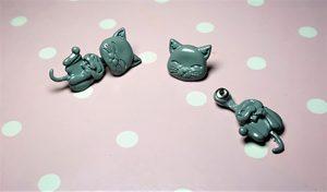 Cute grey cat Lolita Harajuku earlusion earrings