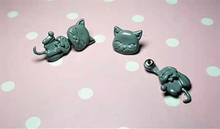 Cute grey cat Lolita Harajuku earlusion earrings