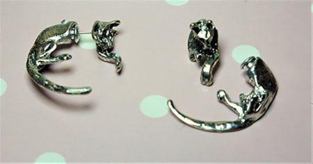 Silver cat earlusion earrings unisex