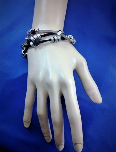 Steampunk cog nut multi strap bracelet unisex