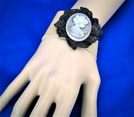 Victorian Lolita leather lady cameo bracelet